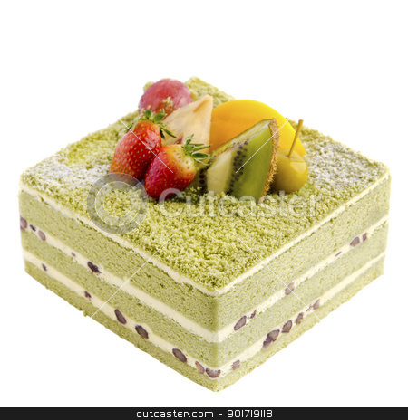Japanese Macha Cake stock photo, Japanese Macha Cake topping with fruits on white background by szefei