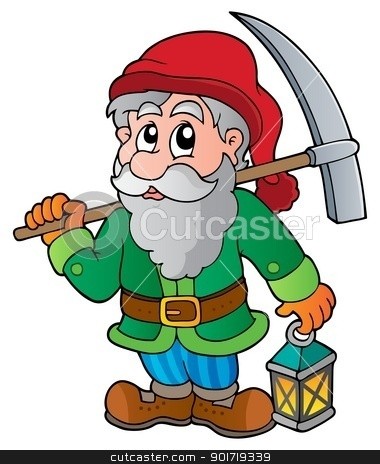 Cartoon dwarf miner stock vector clipart, Cartoon dwarf miner - vector illustration. by Klara Viskova