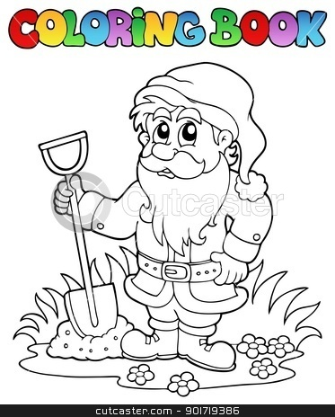 Coloring book cartoon garden dwarf stock vector clipart, Coloring book cartoon garden dwarf - vector illustration. by Klara Viskova