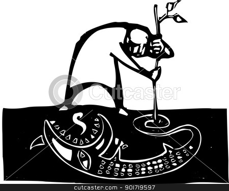 Drawing My Dreams stock vector clipart, Man draws image of a monster in the dirt. by Jeffrey Thompson