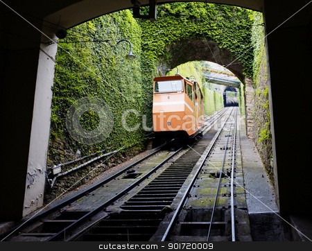 Funicular stock photo, BERGAMO, LOMBARDY, ITALY - MAY 27: Funicular, the cable car that transports passengers to the old upper town, Citta Alta. May 27, 2011 in Bergamo, Lombardy, Italy by Stocksnapper