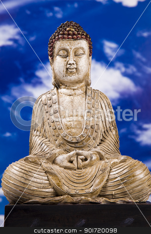 Portrait of Buddha stock photo, Portrait of Buddha. Closeup, studio shot by fikmik