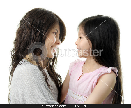Mother and me stock photo, Asian mother and her daughter face to face on white background by szefei