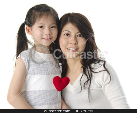 Happy mother's day stock photo, Photo of Asian mother and daughter on white background by szefei