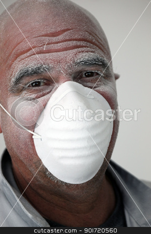 Laborer with a protective mask stock photo, Laborer with a protective mask by photography33