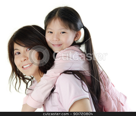 Mother and me stock photo, Asian mother piggyback her daughter, on white background by szefei