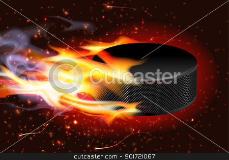 Hockey Puck On Fire stock vector clipart, Detailed illustration of a hockey puck flying through the air on fire. by Liviu Peicu