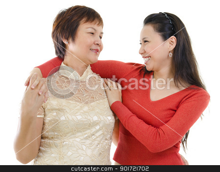 Conversation stock photo, Mixed race Asian mother and daughter having conversation on white background by szefei
