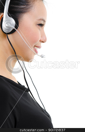 Contact us! stock photo, Side view of friendly customer representative isolated on white background by szefei