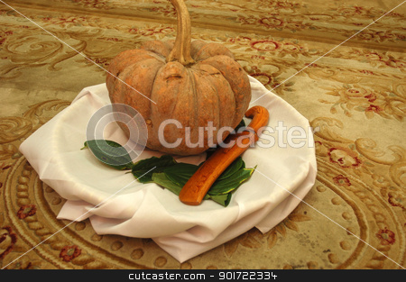 pumpkin stock photo, pumpkin with sirih leaf and traditional knife from indonesia