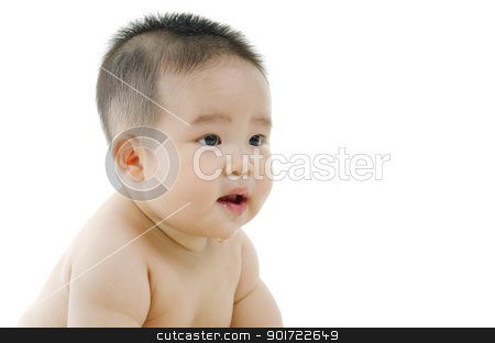 Drooling stock photo, Asian baby drooling isolated on white background by szefei