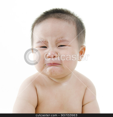 Crying baby stock photo, Crying Asian baby on white background by szefei