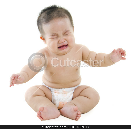 Crying baby boy stock photo, Full body Asian baby boy crying on white background by szefei
