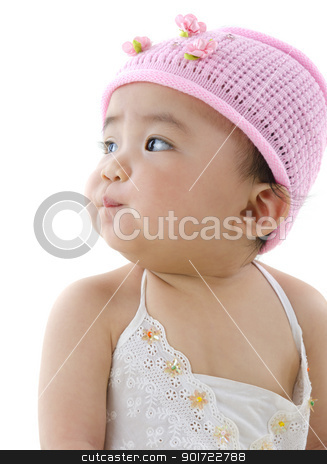 Baby girl stock photo, Beautiful 10 month old pan asian baby girl in pink flower hat by szefei