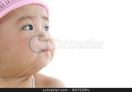 Pan asian baby girl stock photo, Close up beautiful 10 month old pan asian baby girl in pink flower hat by szefei
