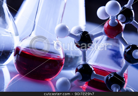 Laboratory Glassware, flasks and test tubes stock photo, Laboratory Glassware, flasks and test tubes by fikmik