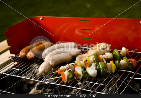 Grill time, Barbecue in the garden stock photo, Grill time, Barbecue in the garden by fikmik