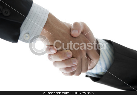 Hands shaking stock photo, Businessmen shaking hands isolated on white, low angle view. by szefei
