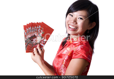 Happy Chinese New Year stock photo, Happy oriental girl with cheongsam wishing you a happy Chinese New Year. by szefei