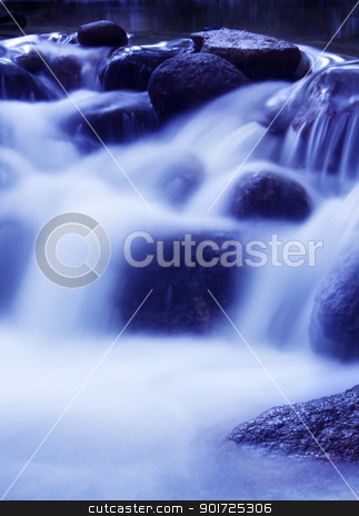 Falls in dawn. stock photo, Natural waterfall in tropical rainforest Malaysia in early morning. by szefei