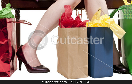 Woman Shopping Bags stock photo, A beautiful young woman on a shopping spree by Robert Byron