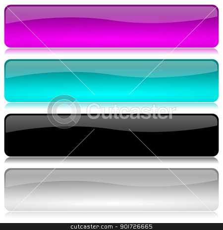 Cold colored bar set stock photo, Cold colored and glossy bar set with reflection on white background illustration by make