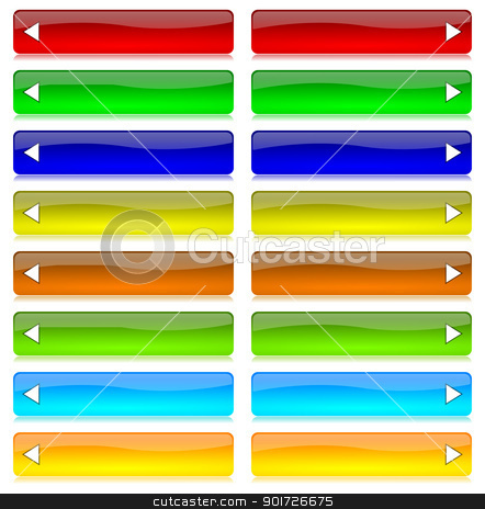Colored bar set with arrow stock photo, Colored and glossy bar set with arrow and reflection on white background illustration by make