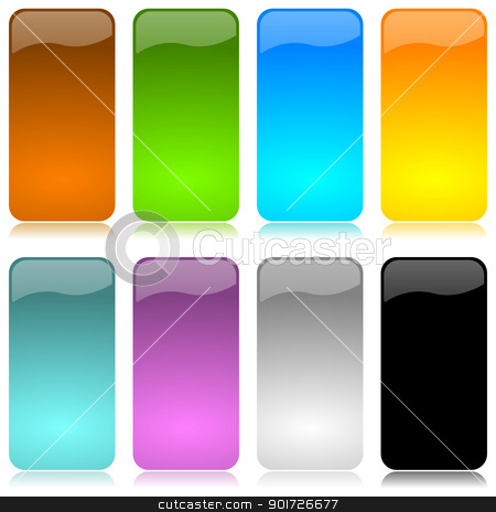 Colored and glossy vertical bar set stock photo, Colored and glossy vertical bar set with reflection on white background illustration by make