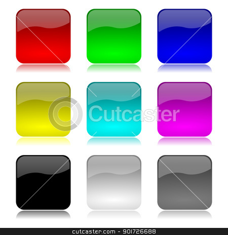Colored app buttons set stock photo, Colored and glossy app buttons set with reflection on white background illustration by make
