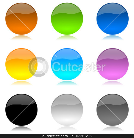 Colored and glossy rounded buttons set stock photo, Colored and glossy rounded buttons set with reflection on white background illustration by make