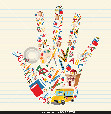 Back to school tools in hand shape stock vector clipart, School tools and Supplies in hand shape background. Vector file layered for easy manipulation and custom coloring. by Cienpies Design