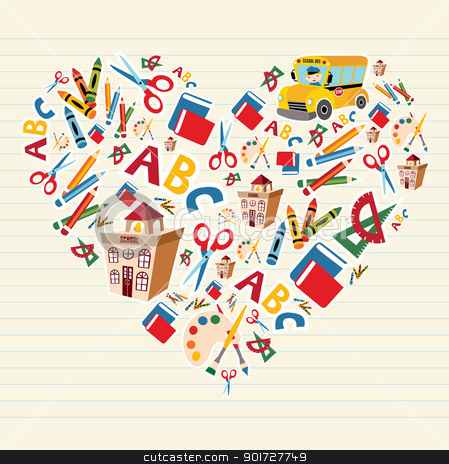 Back to school love heart stock vector clipart, Set of school tools and supplies in heart shape background. Vector file layered for easy manipulation and custom coloring. by Cienpies Design