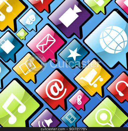Mobile phone app icons background stock vector clipart, Smartphone app icon set in social bubbles background. Vector file layered for easy manipulation and customisation. by Cienpies Design