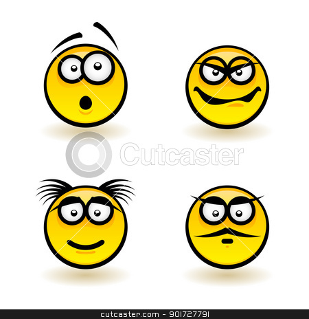 Cartoon faces stock photo, Cartoon faces. Set of third. Illustration of designer on white background by dvarg
