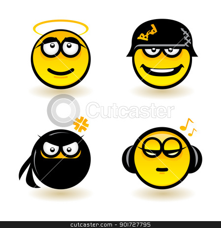 Cartoon faces stock photo, Cartoon faces. Set of four. Illustration of designer on white background by dvarg