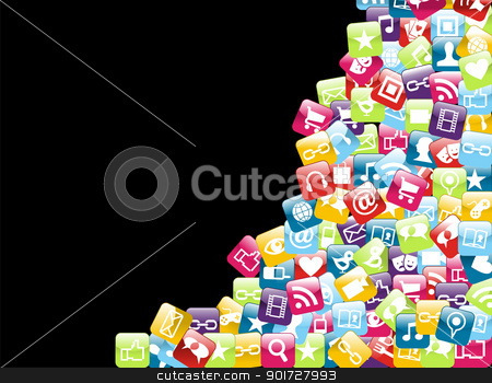Mobile phone app icons background stock vector clipart, Smartphone app icon set isolated over black background. Vector file layered for easy manipulation and customisation. by Cienpies Design