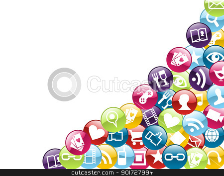 Mobile phone app icons background stock vector clipart,  Smartphone app icon set isolated over white background. Vector file layered for easy manipulation and customisation. by Cienpies Design