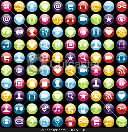 Mobile phone app icons background stock vector clipart, Smartphone app icon set pattern background. Vector file layered for easy manipulation and customisation. by Cienpies Design