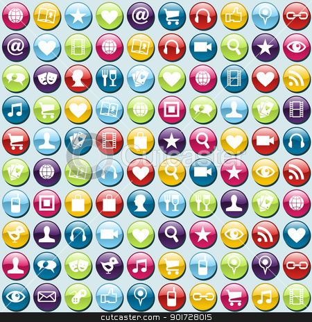 Mobile phone app icons pattern background stock vector clipart, Smartphone app icon set seamless background. Vector file layered for easy manipulation and customisation. by Cienpies Design