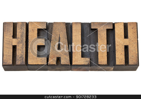 health word in letterpress wood type stock photo, health - isolated text in vintage letterpress wood type by Marek Uliasz