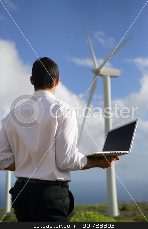 Man Stood by wind farm stock photo, Man Stood by wind farm by photography33