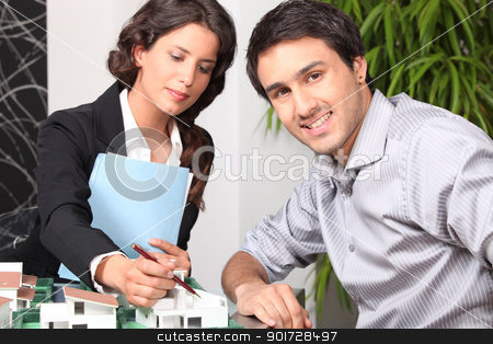 female architect in office with client stock photo, female architect in office with client by photography33