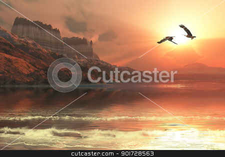 Ghost Seascape stock photo, A gorgeous sunset captures the flight of two Bald Eagles flying along a mountainous coastline. by Corey Ford