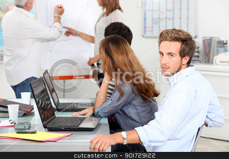Young man in a sales briefing stock photo, Young man in a sales briefing by photography33