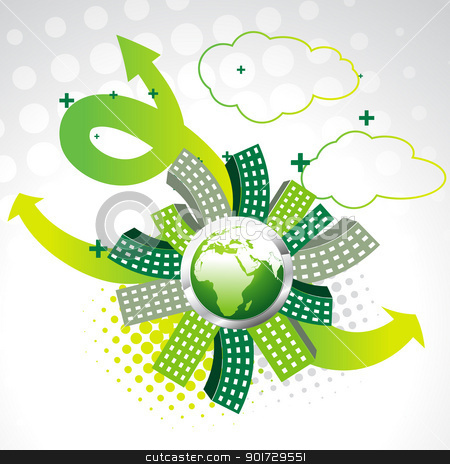 vector green earth stock vector clipart, vector green earth with buildings by pinnacleanimates
