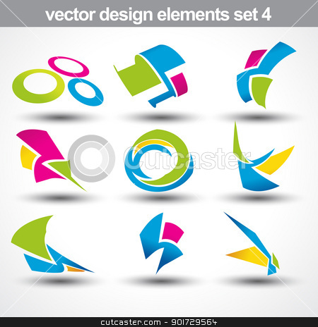 abstract shape vector stock vector clipart, abstract shape vector set 4 by pinnacleanimates