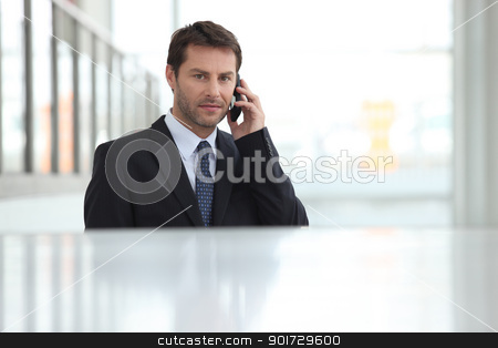 Businessman using his telephone stock photo, Businessman using his telephone by photography33