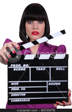 Sexy actress with clap of cinema stock photo, Sexy actress with clap of cinema by photography33