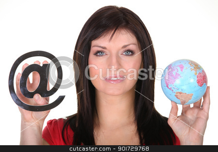 Woman holding globe and at symbol stock photo, Woman holding globe and at symbol by photography33