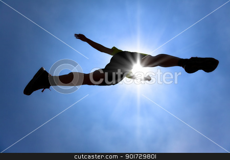 The Silhouette of runner crossing sky with sunlight background stock photo, The Silhouette of runner crossing sky with sunlight background by tomwang
